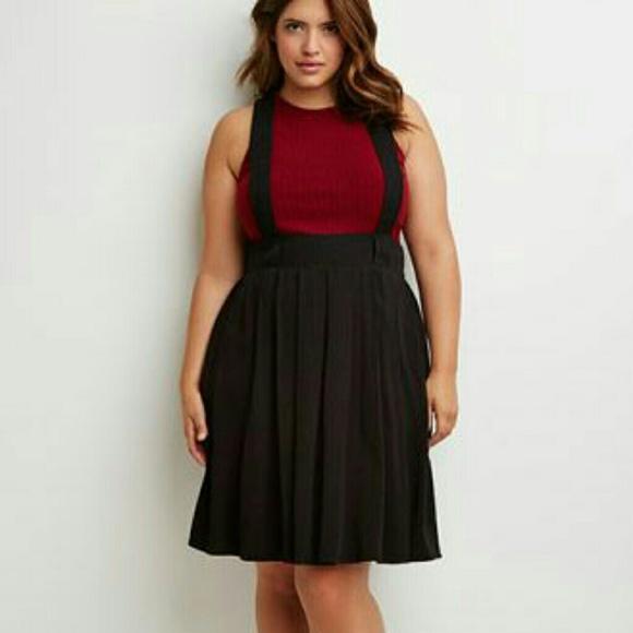 7eedc937ac Forever 21 Skirts   Pleated Black Suspender Skirt   Poshmark